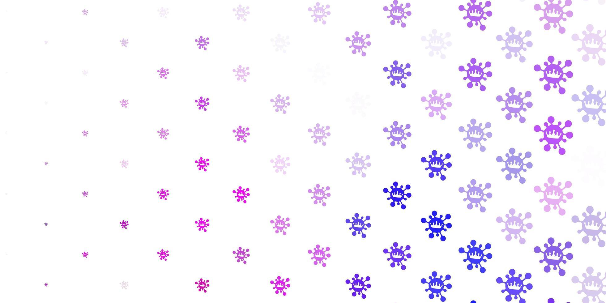 fondo violeta claro, rosa con símbolos covid-19. vector