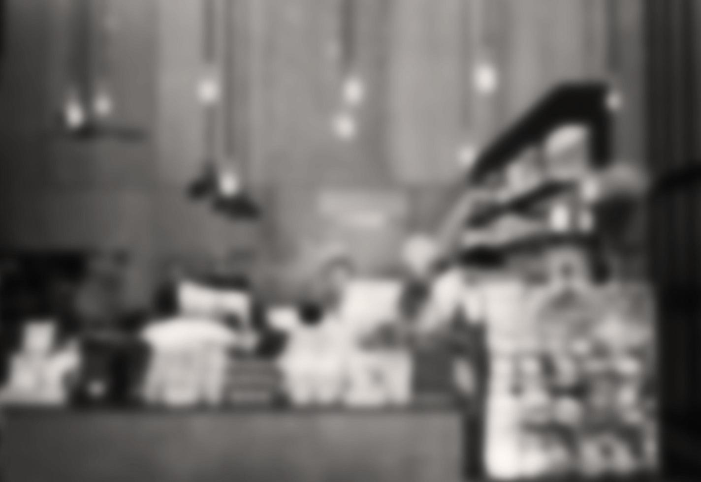 Blurred black and white cafe background photo