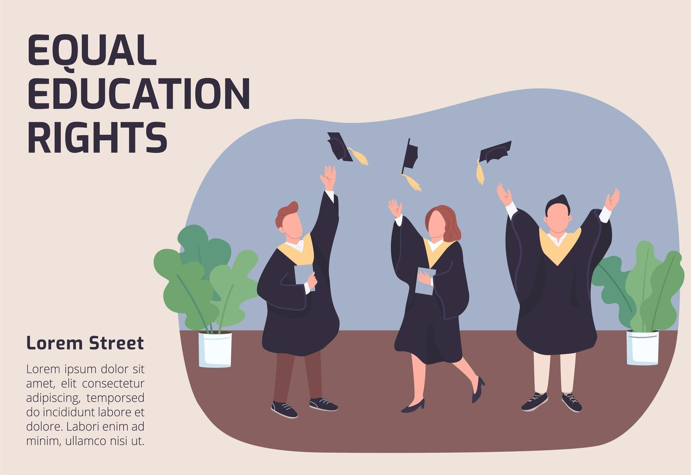 Equal education rights banner vector