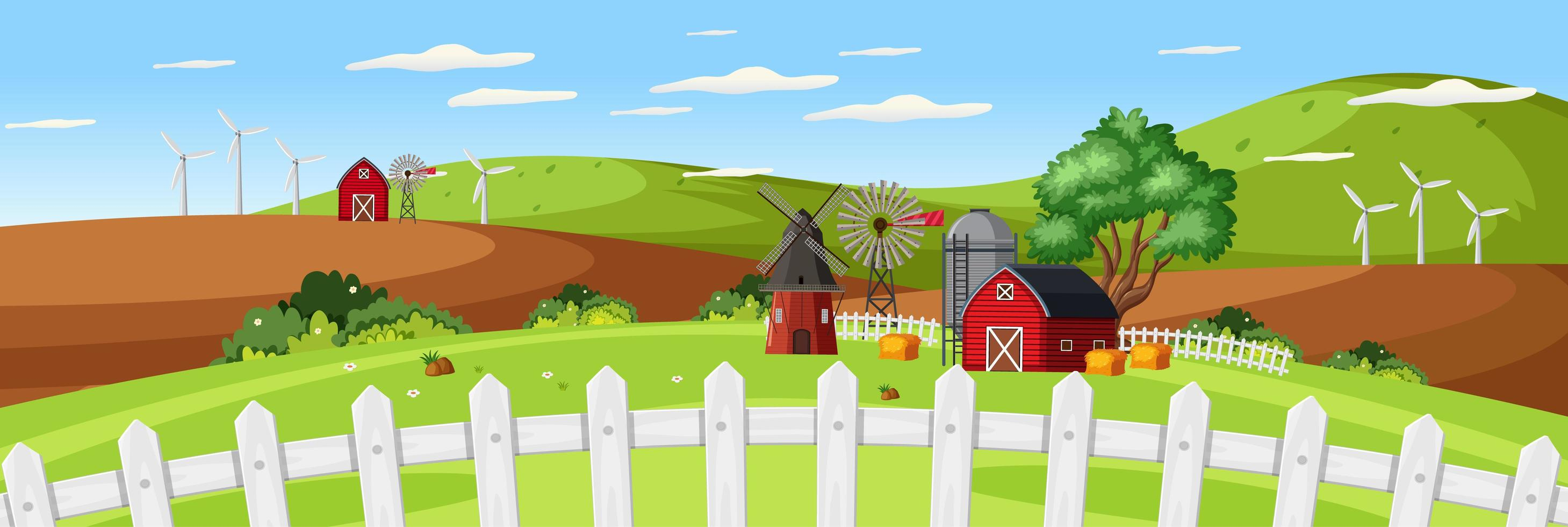 Paisaje agrícola con granero rojo y cerca de cerca en temporada de verano vector