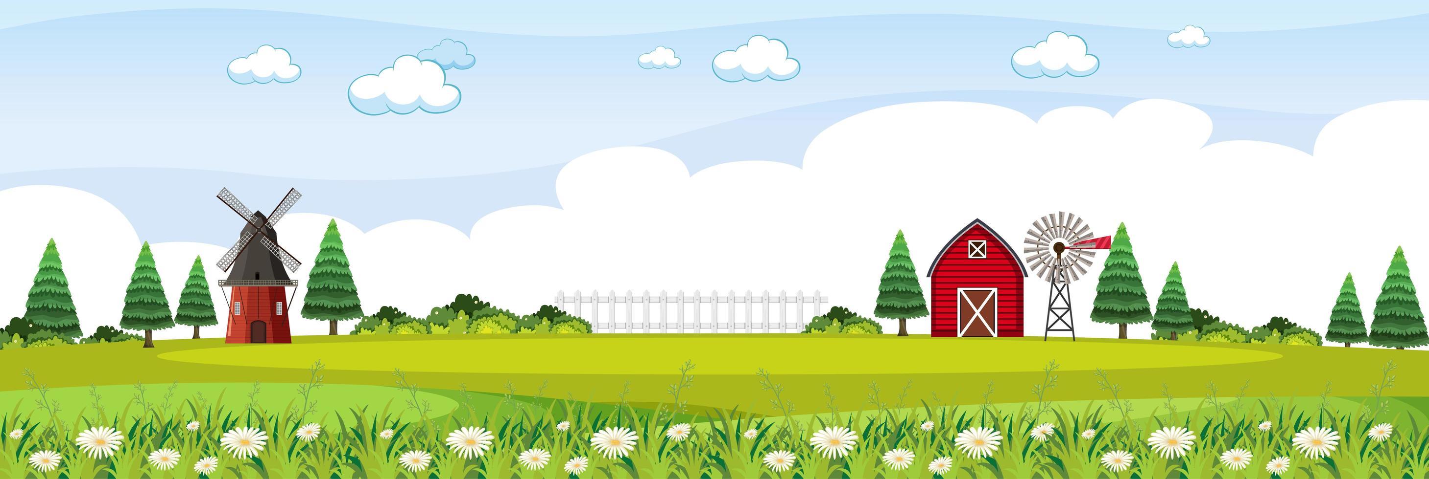 paisaje agrícola con granero rojo y molino de viento en temporada de verano vector