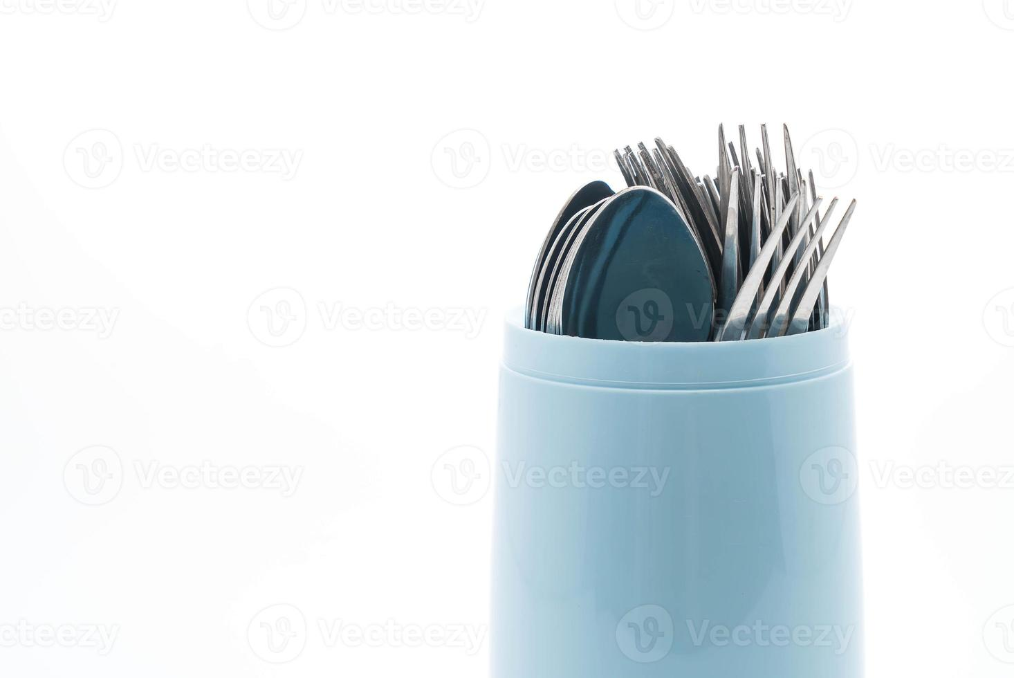 Cutlery holder on white background photo