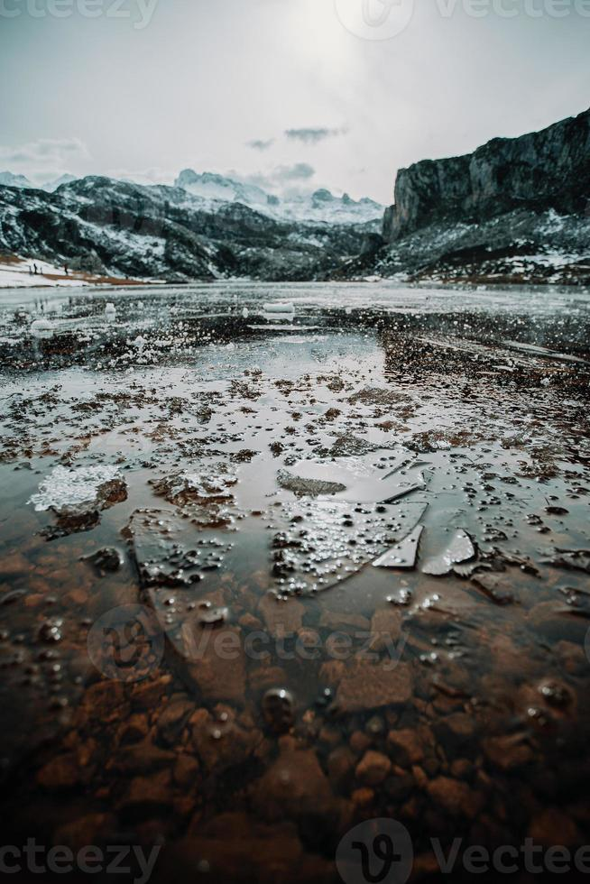 Frozen water and pieces of ice in a frozen lake photo