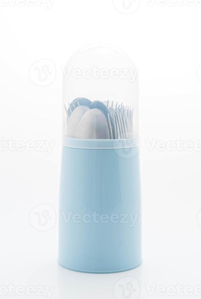 Cutlery holder on white background photo