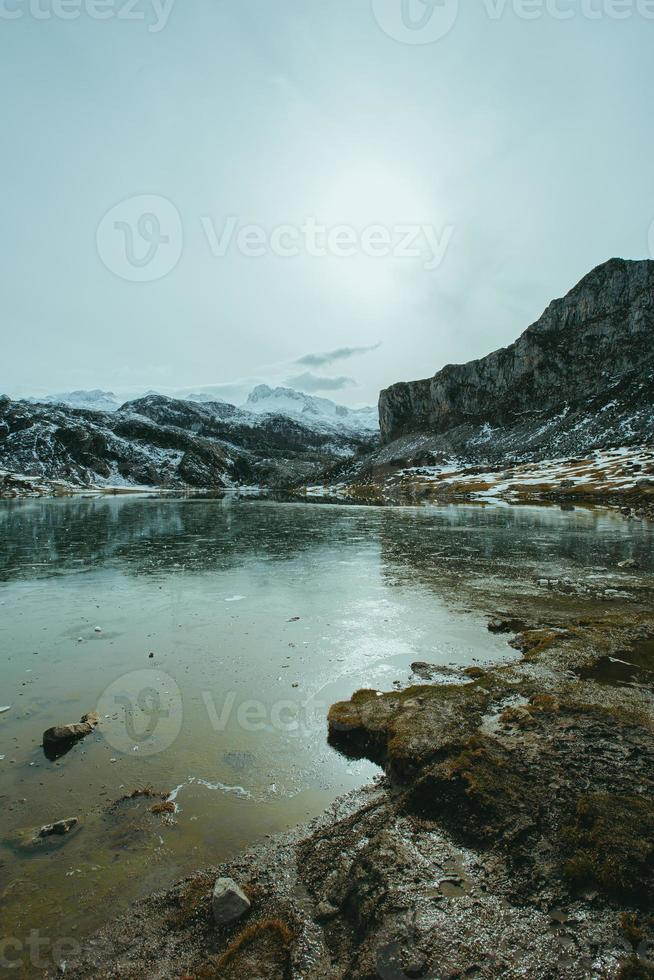 Vertical view of a frozen lake photo