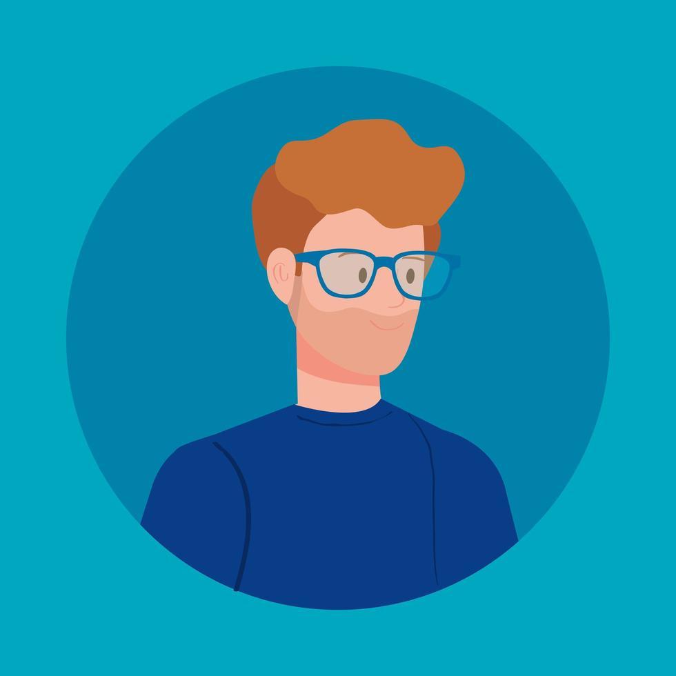 avatar redondo con joven vector