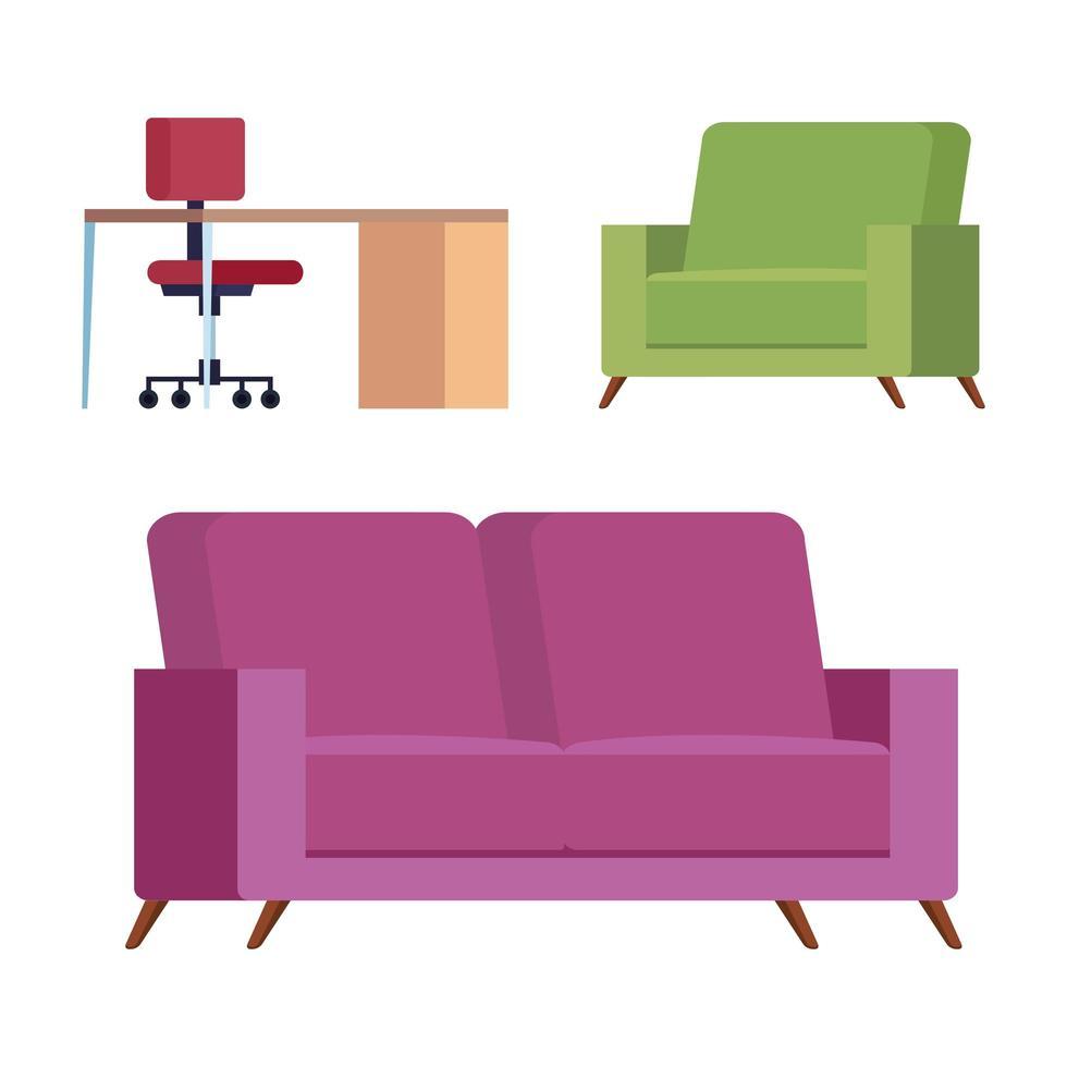 juego de sofá, silla y escritorio vector