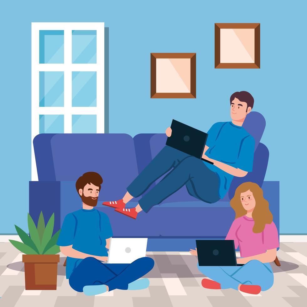 personas en casa trabajando juntas en sus computadoras portátiles vector