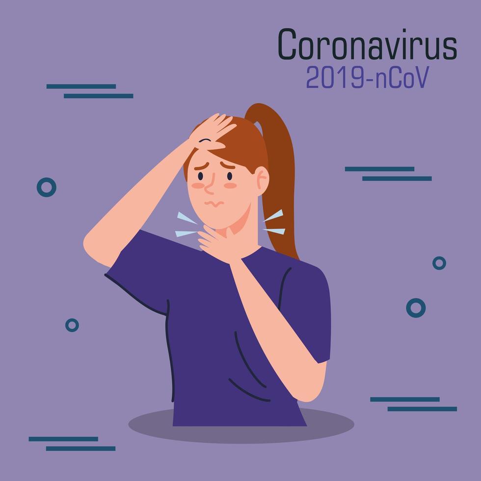 mujer infectada con banner covid-19 vector