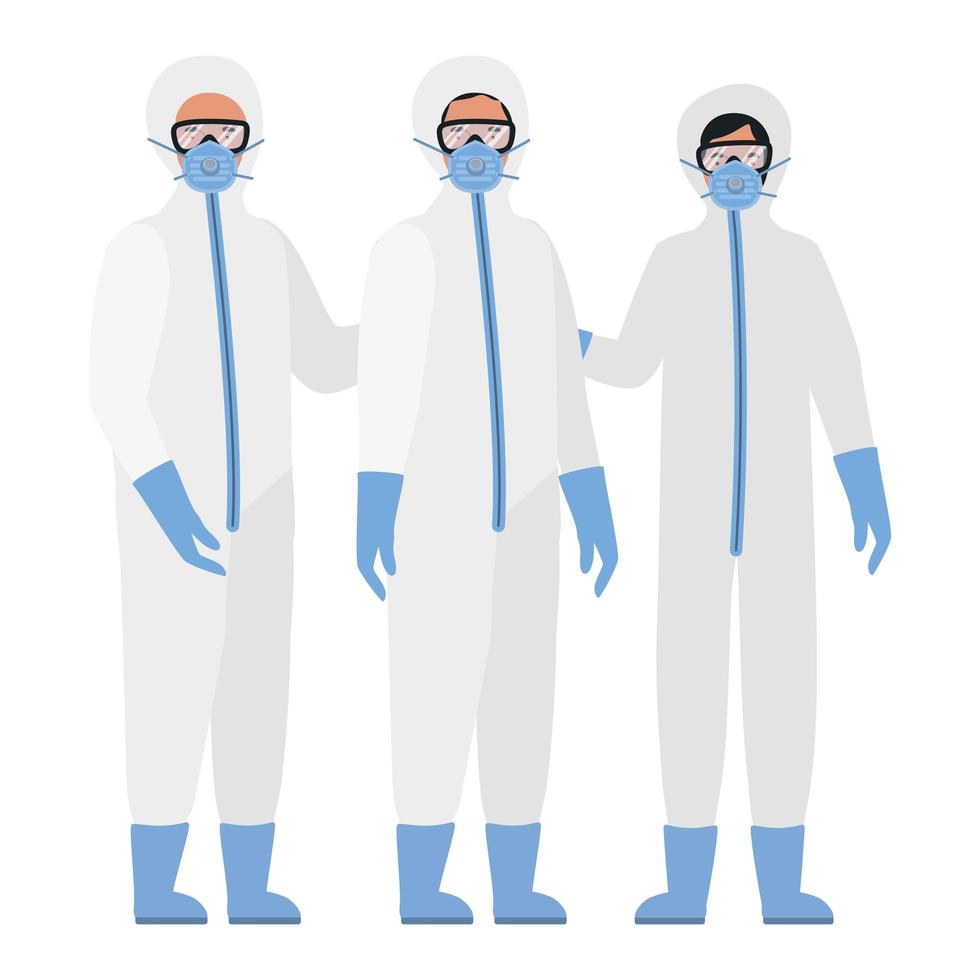 médicos con trajes de protección, gafas y máscaras contra el covid 19 vector
