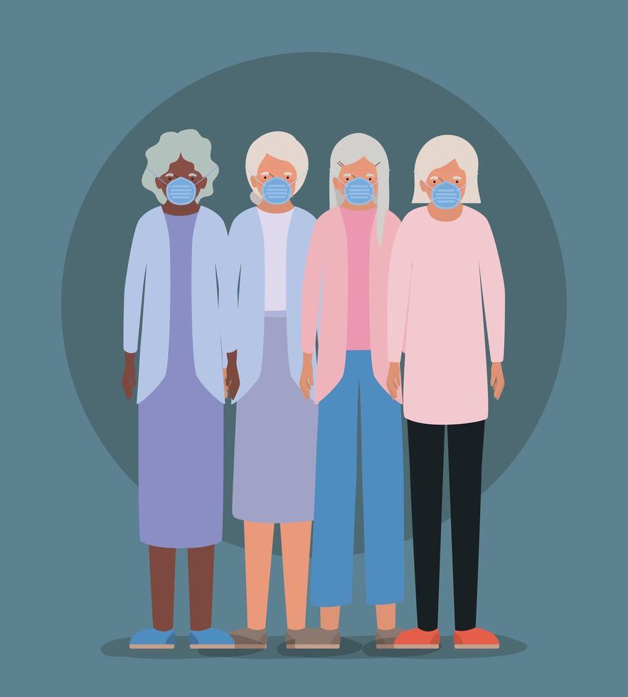 mujeres mayores con máscaras contra el covid 19 vector