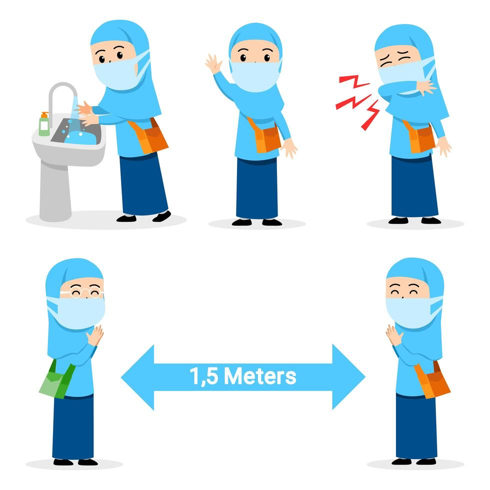 Preventive Act Of Flu Spread By Girl Moslem Student vector