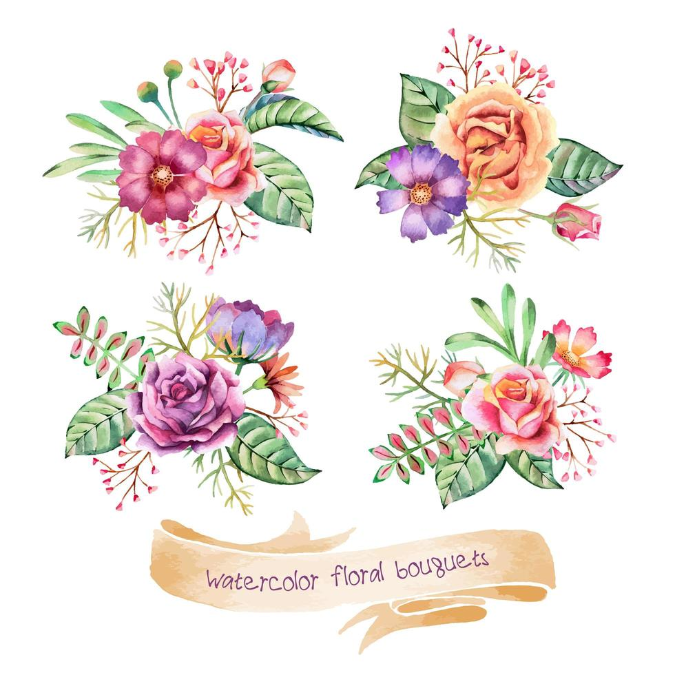 Watercolor Bouquets Collection vector