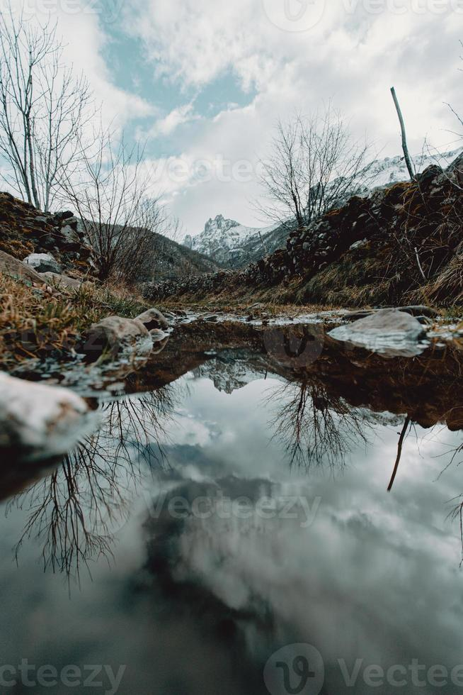 Mountains reflecting in the water photo