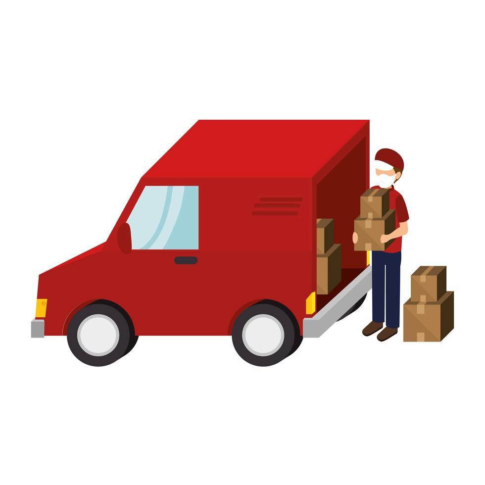 Trabajador de entrega con mascarilla con paquetes y vehículo van vector
