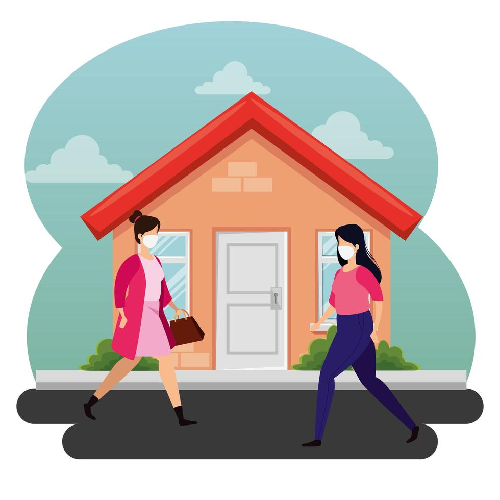 young women with face masks walking outdoors vector