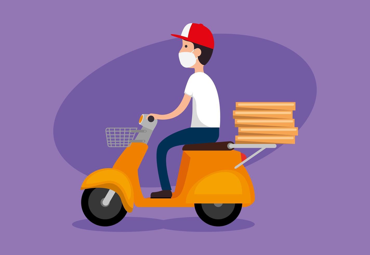 Mensajero de entrega de pizza en motocicleta con mascarilla vector