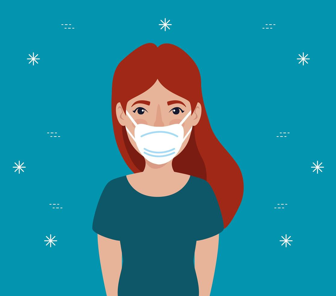 Young woman with face mask avatar character vector