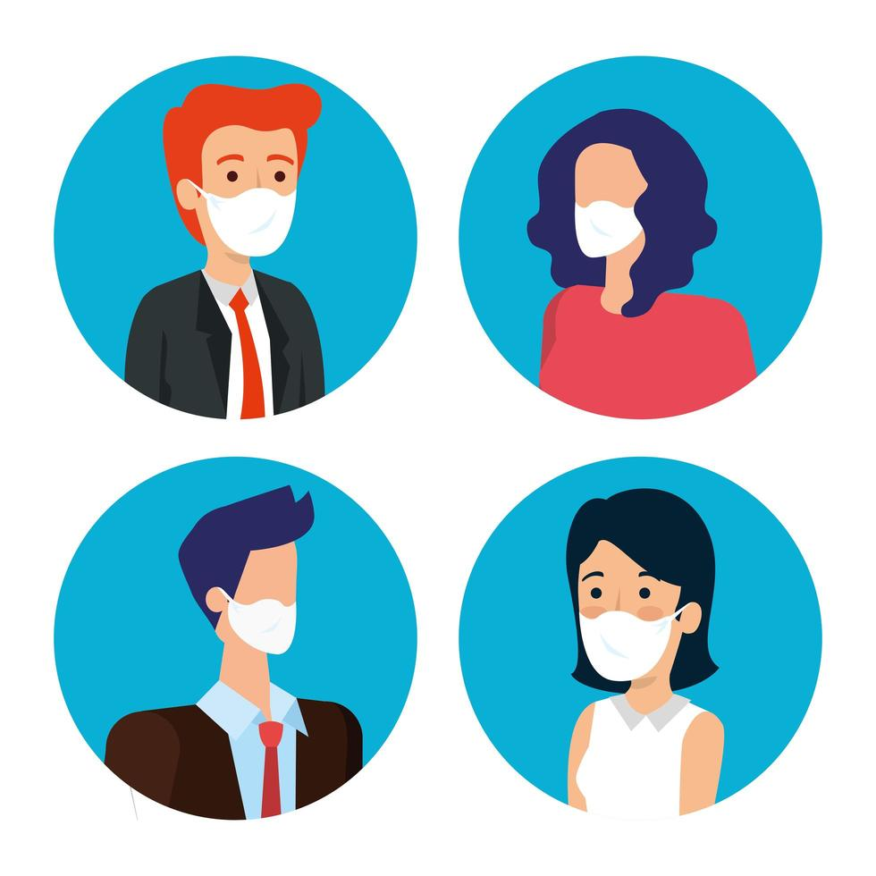 business people with face masks avatar icons vector