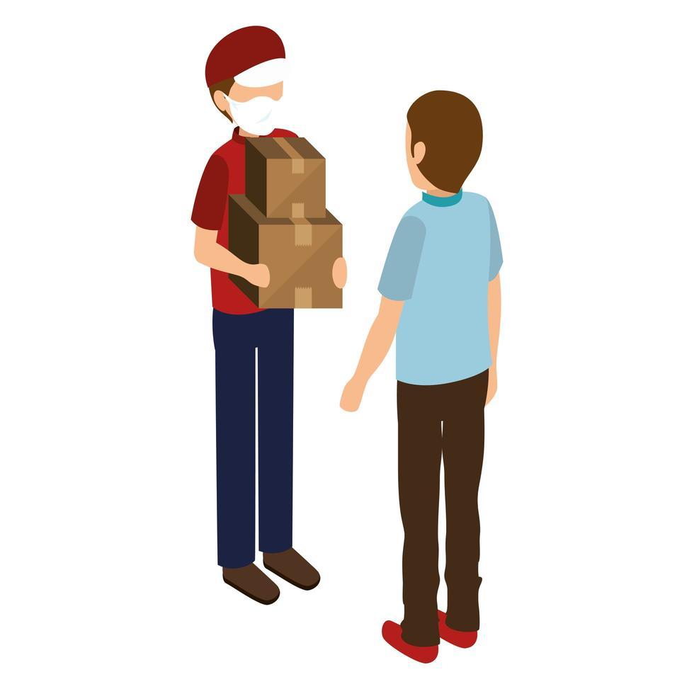 Trabajador de entrega con mascarilla dando paquetes al cliente vector