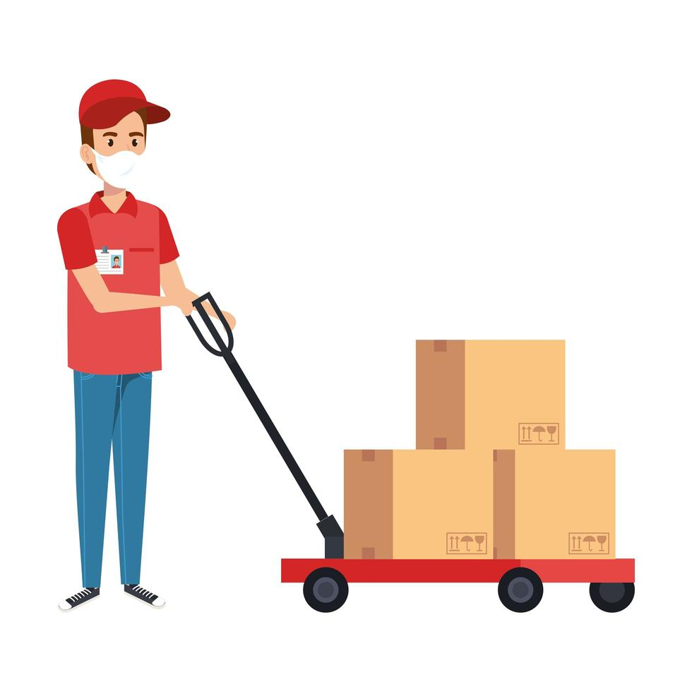 Delivery worker with face mask and packages vector