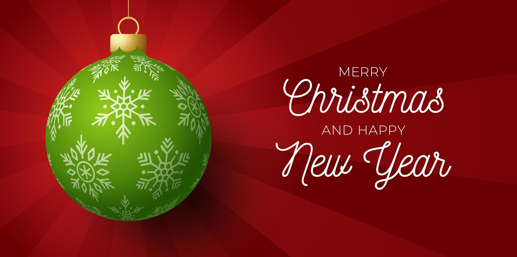 Merry Christmas and happy new year banner. Vector illustration card with green Christmas tree ball on luxury sunrise light background with modern lettering