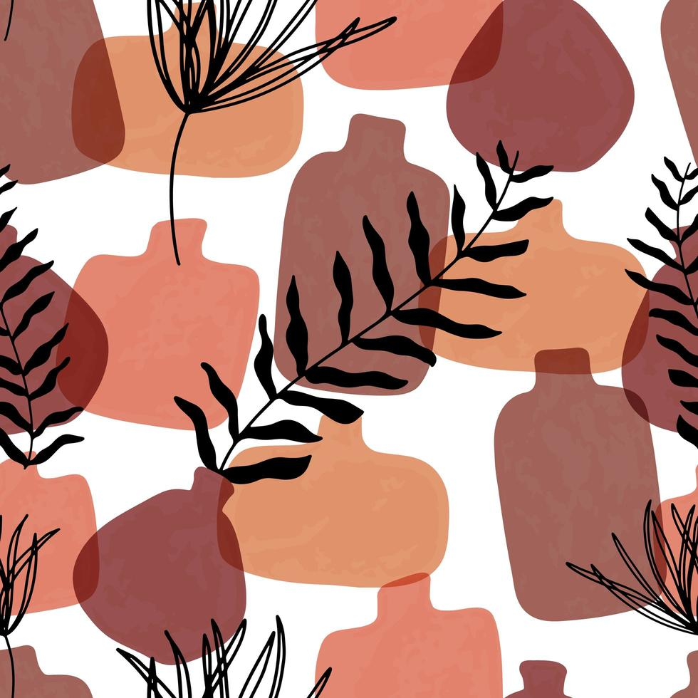 Seamless pattern with abstract hand drawn terracotta vases in pastel colors and branch on beige backgroud. Abstract geometrical design for textile, wrapping, backdrop. vector