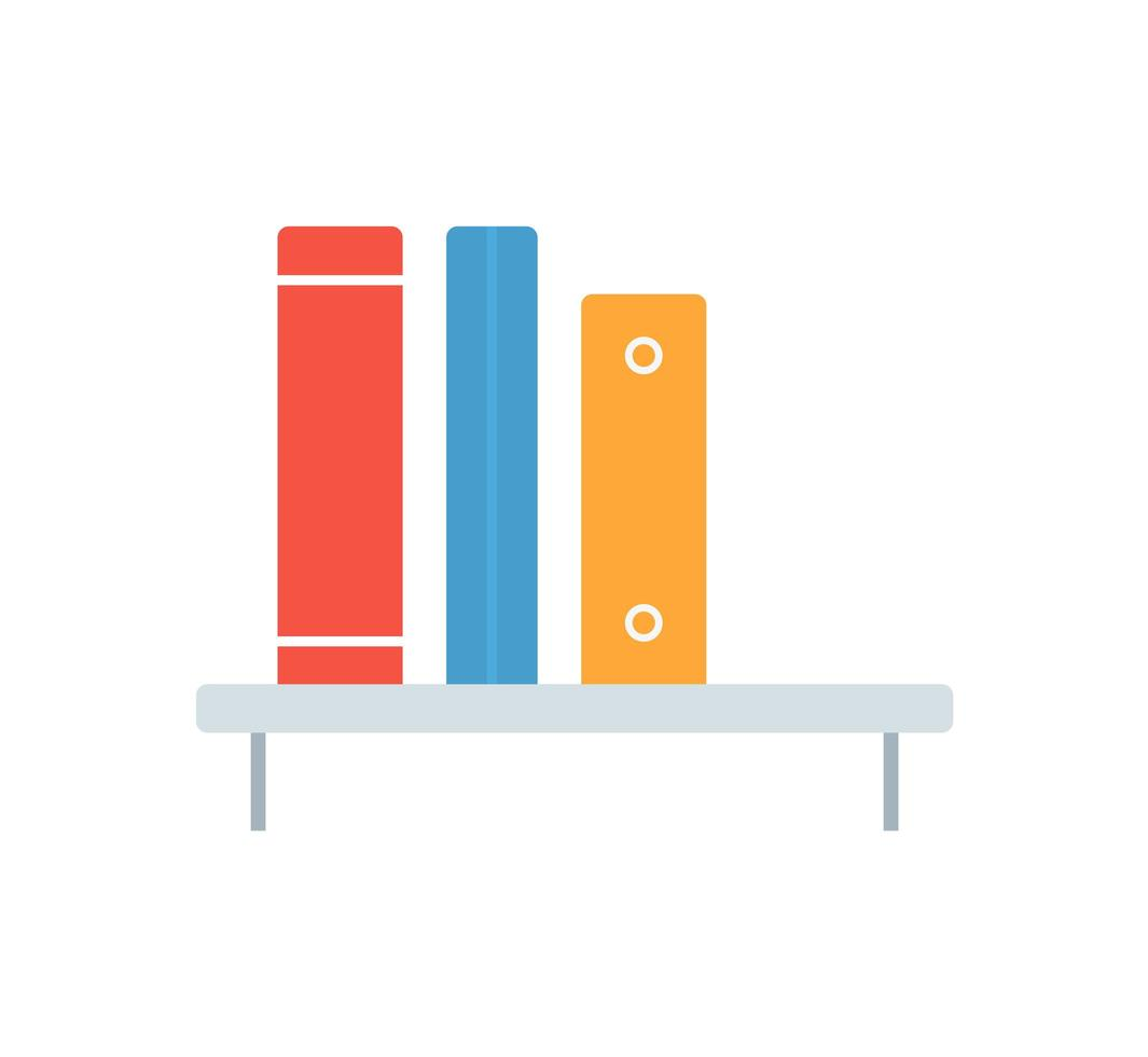elemento de estantería de icono plano. Ilustración de vector de librería de icono plano aislado sobre fondo limpio. Se puede utilizar como símbolo de estantería, librería y librería.