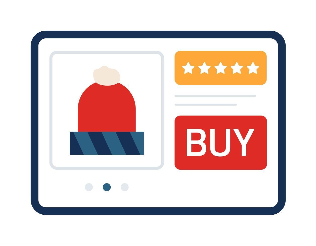 Christmas online shopping concept on tablet. New normal online shopping at Christmas time during coronavirus vector