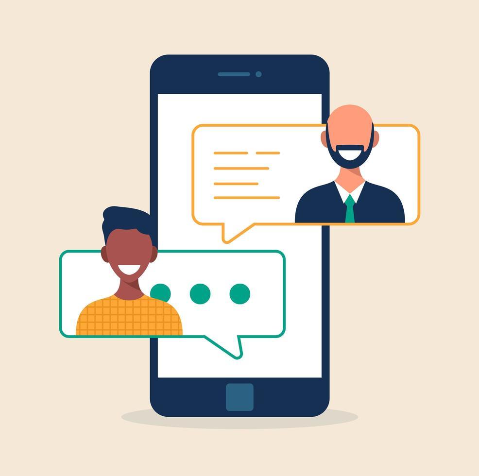 concepto de educación en línea. estudiante y profesor hablando por mensaje de texto en el teléfono inteligente. Ilustración de vector de estilo plano aislado en blanco.