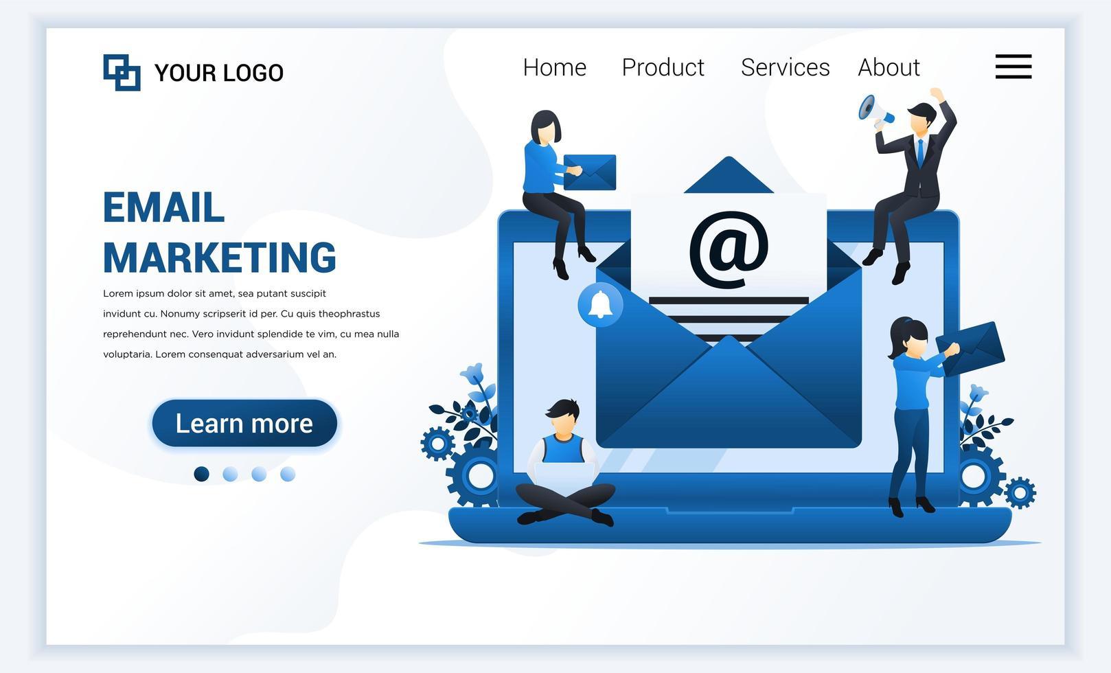 Plantilla de página de destino de marketing por correo electrónico, servicios de correo con personas que trabajan en una computadora portátil. concepto de diseño de página web plana moderna para sitio web y sitio web móvil. ilustración vectorial vector