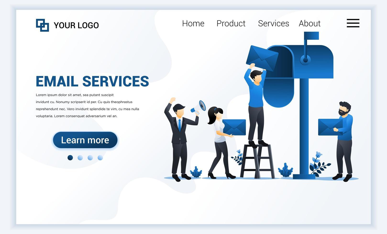 Plantilla de página de destino de marketing por correo electrónico, servicios de correo con personajes. concepto de diseño de página web plana moderna para sitio web y sitio web móvil. ilustración vectorial vector