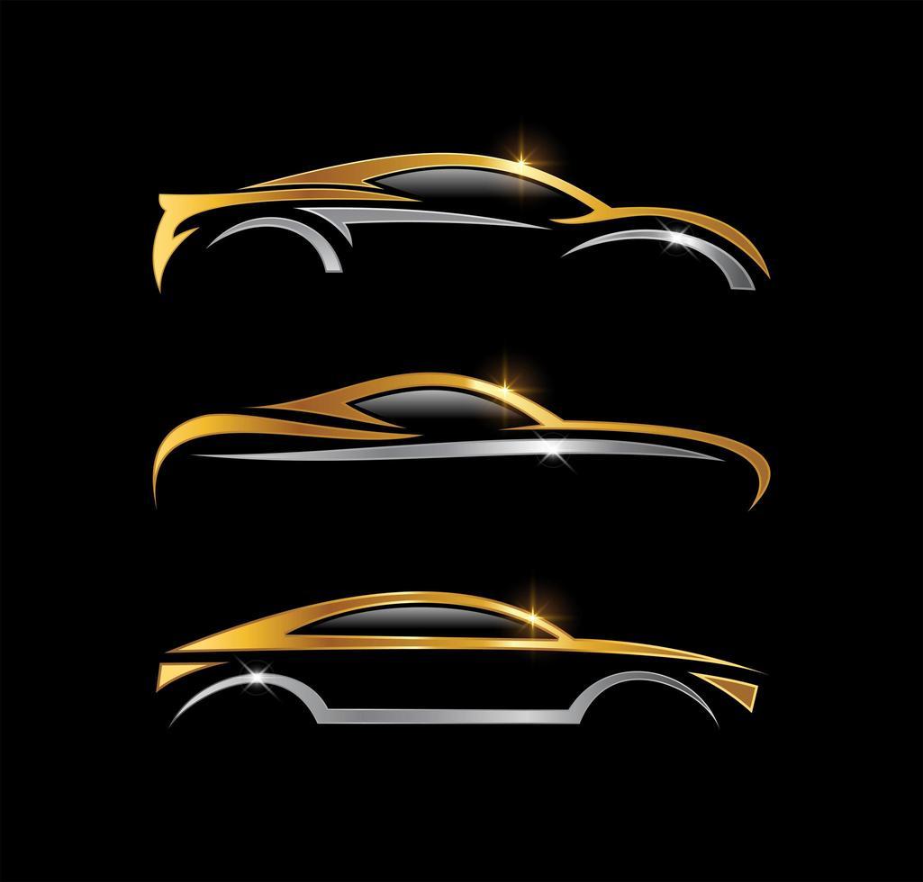 conjunto de coche dorado y plateado vector