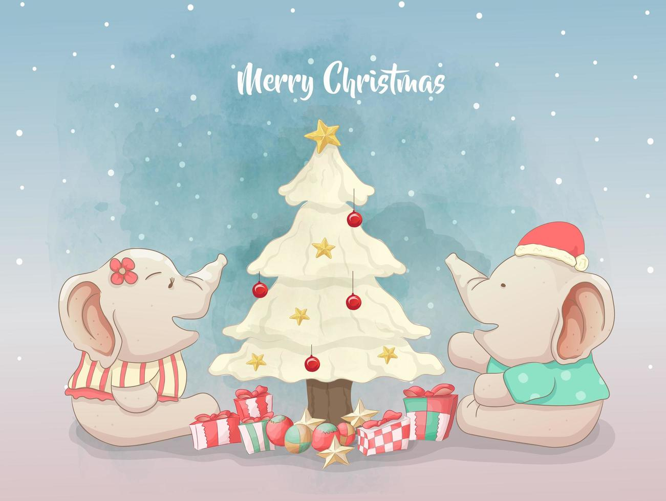Elephants couple celebrating christmas day vector