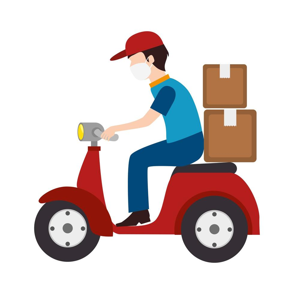 Motorcycle courier with face mask vector