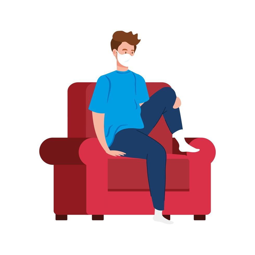 Campaña de estancia en casa con hombre sentado en una silla vector