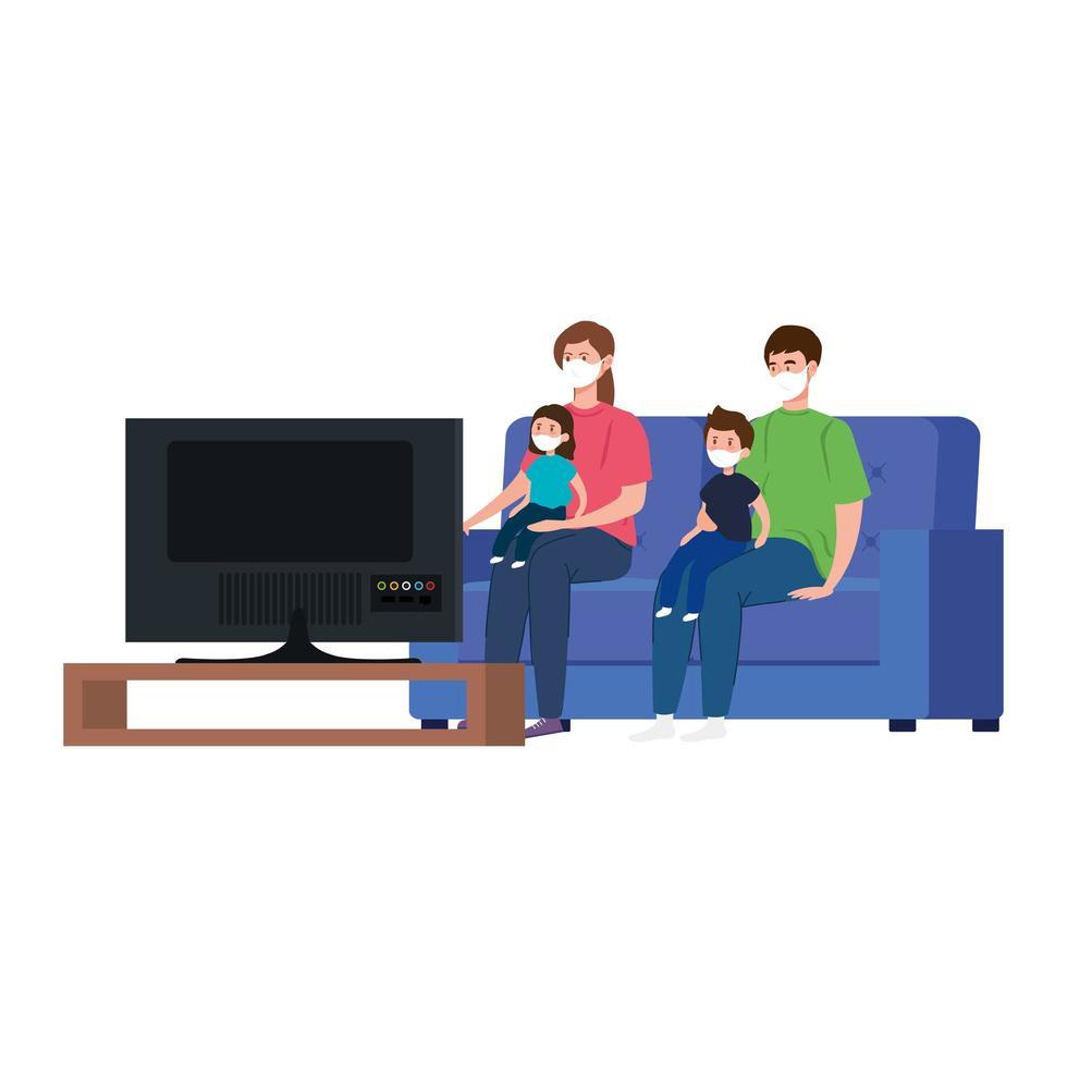 Campaña de quedarse en casa con la familia viendo la televisión. vector