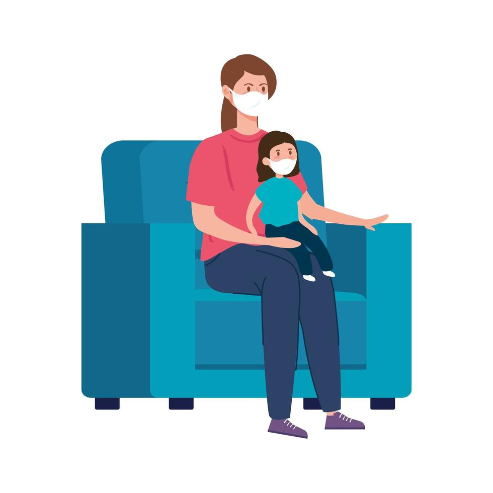 Stay at home campaign with family in the living room vector