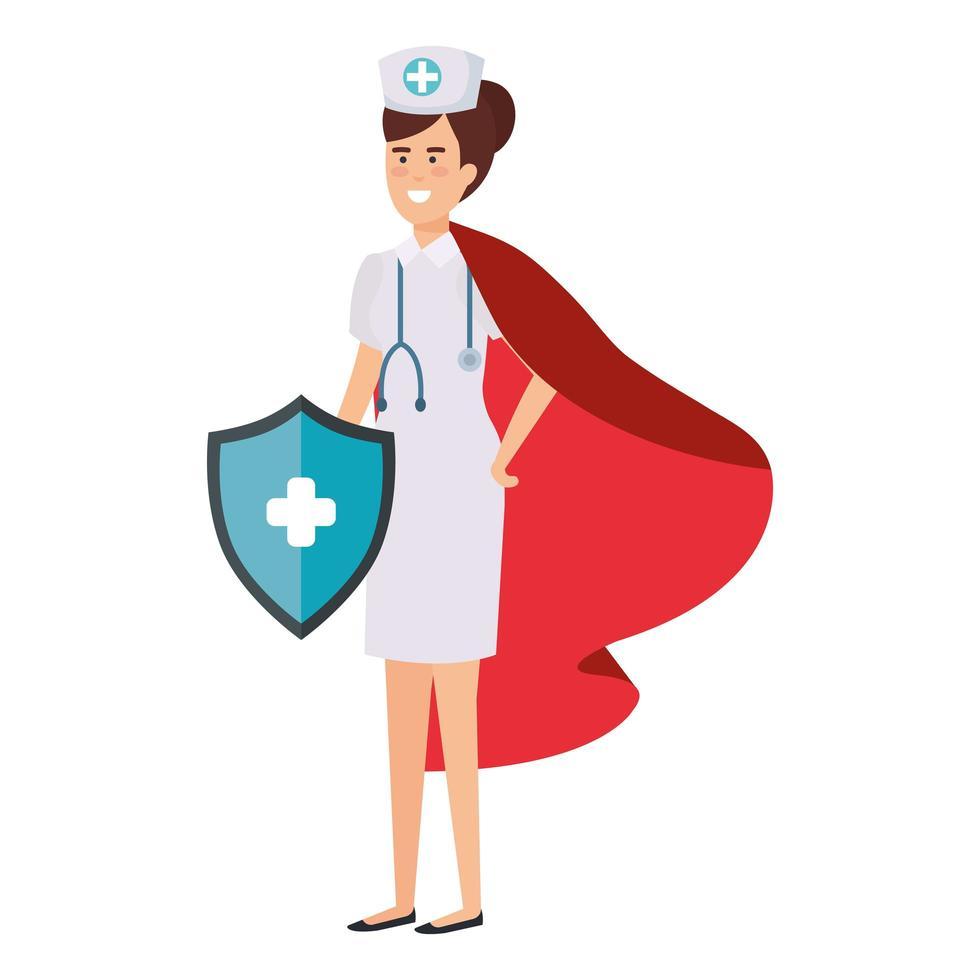 Female nurse as a super heroine vector