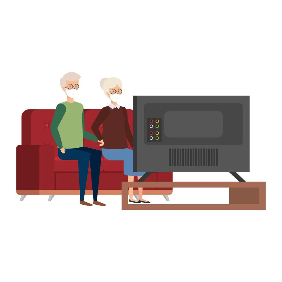 Campaña de estancia en casa con pareja de ancianos viendo la televisión. vector