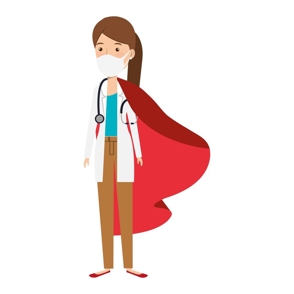 Female doctor wearing a face mask as a super heroine vector