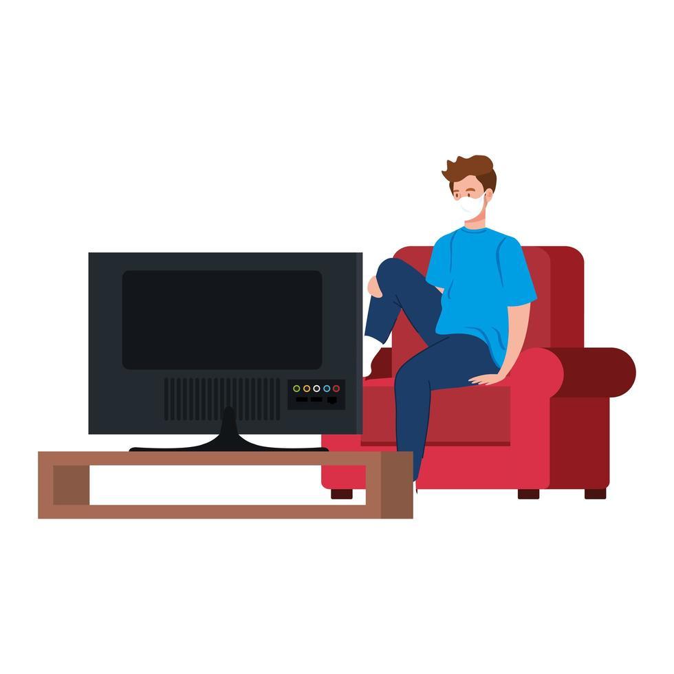 Quédate en casa campaña con el hombre viendo la televisión. vector