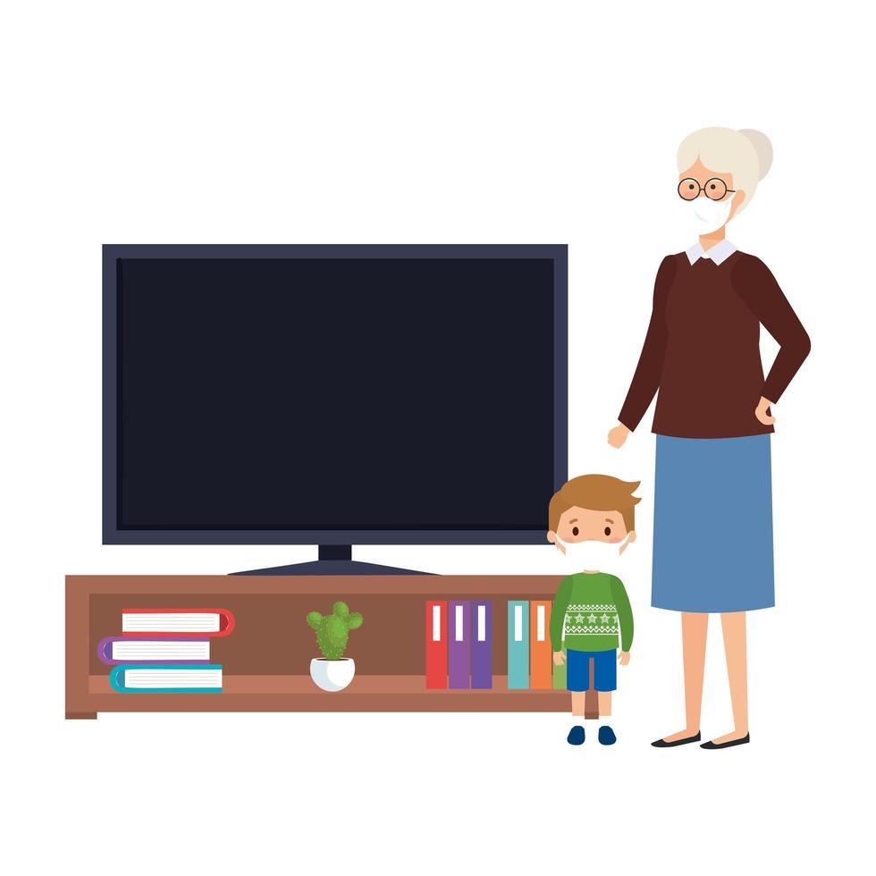 Campaña de quedarse en casa con abuela y nieto viendo la televisión. vector