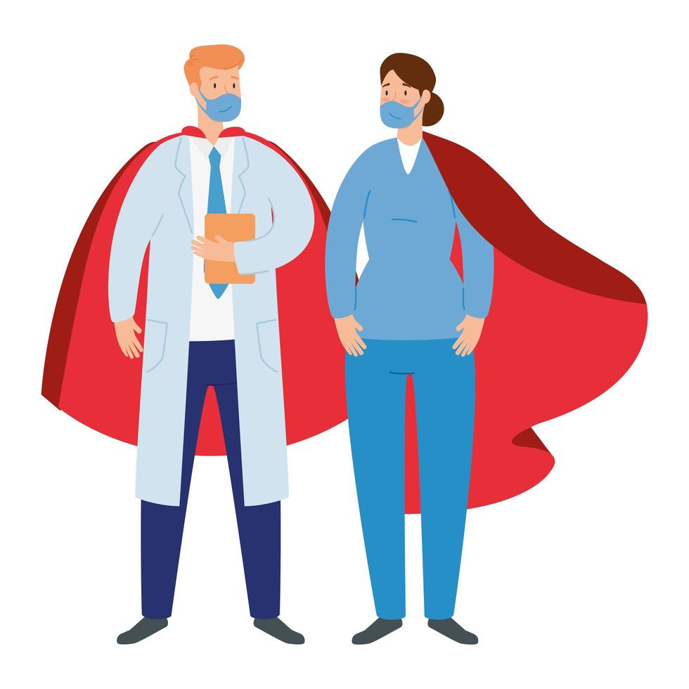 Health care workers wearing face masks as super heroes vector