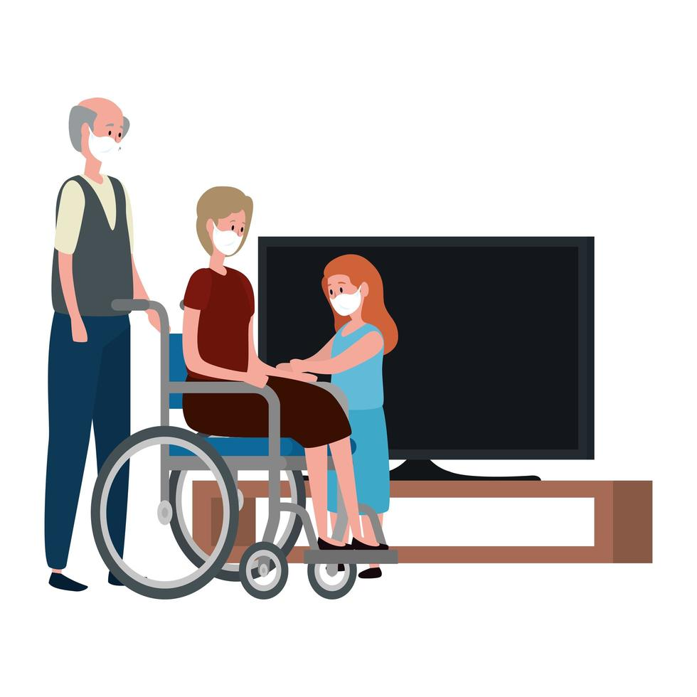 Stay at home campaign with grandparents with granddaughter watching TV vector