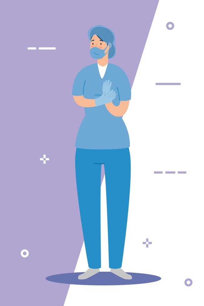 female paramedic with face mask vector