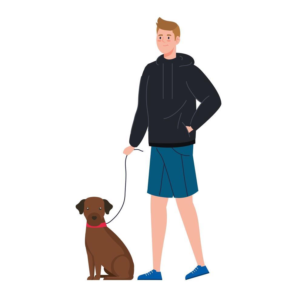 hombre paseando al perro vector