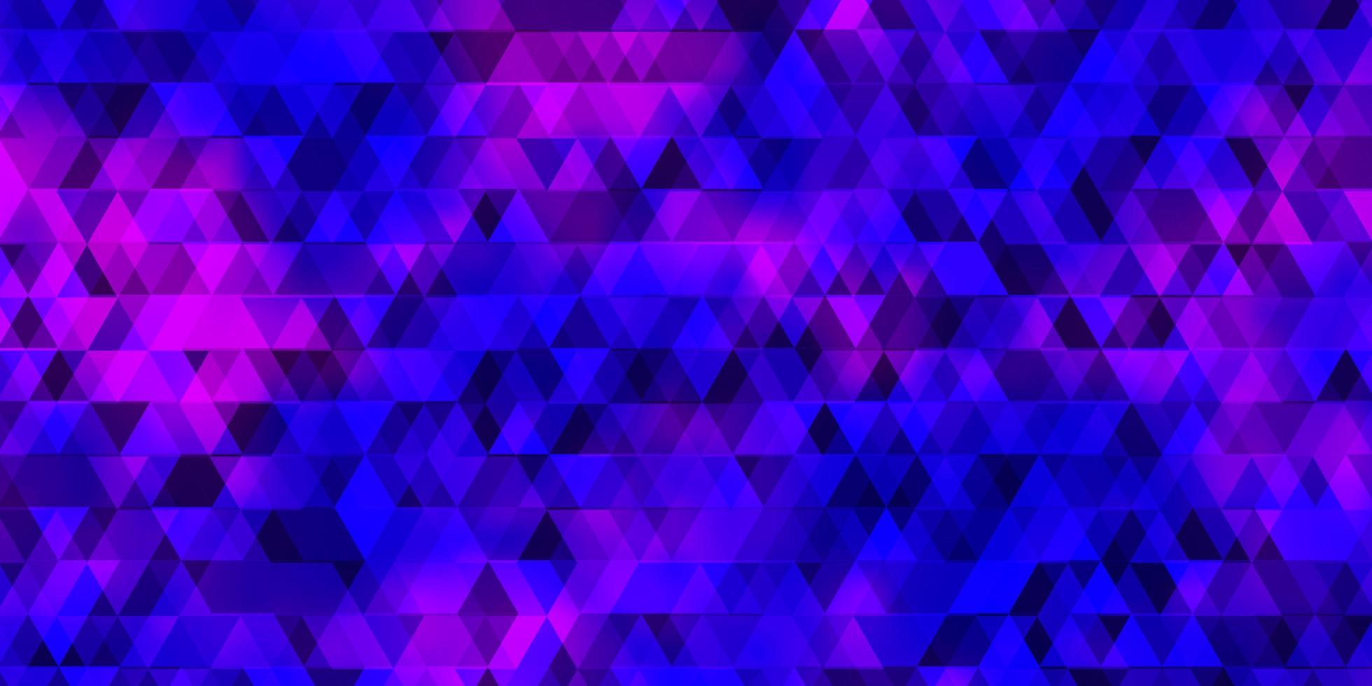 patrón de vector púrpura claro con líneas, triángulos.