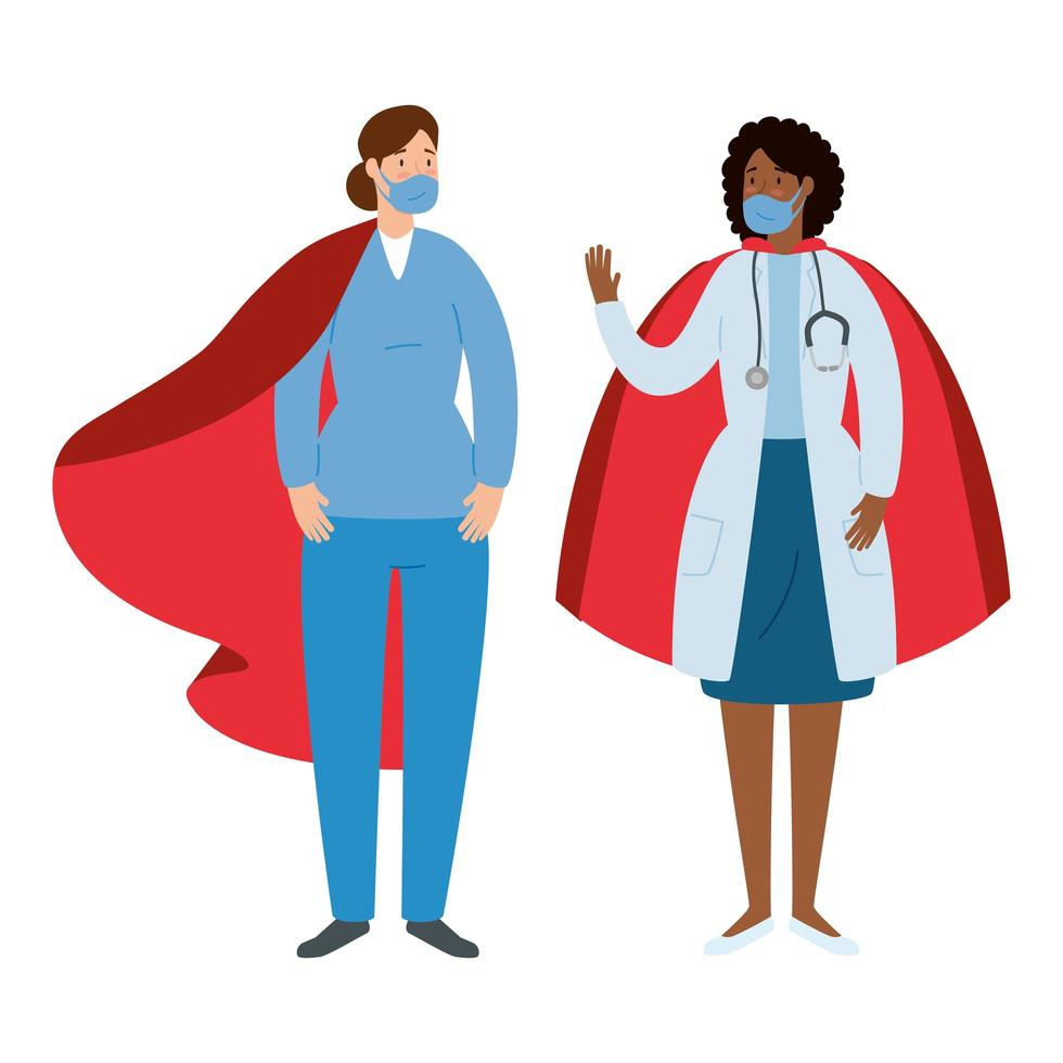 Health care workers as super heroes vector