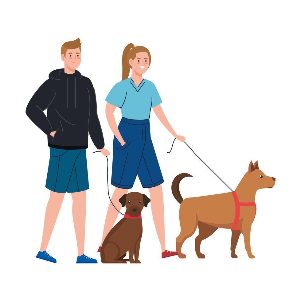 pareja paseando a sus perros juntos vector